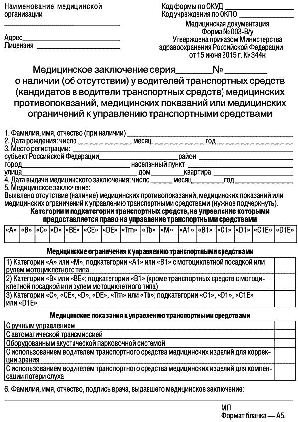 Meditsinskaya spravka 003 Vu opt - Как пройти медицинскую комиссию на водительское удостоверение?