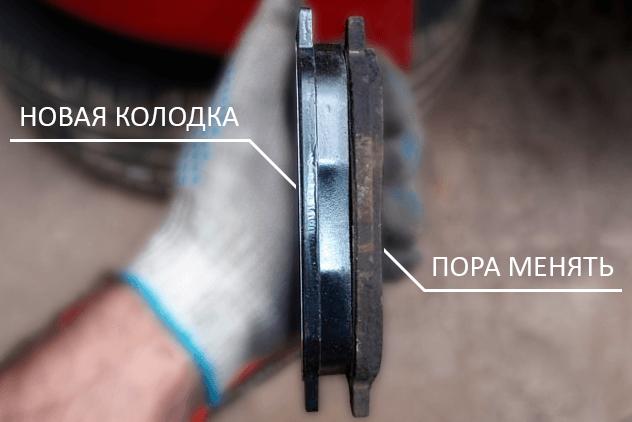 как выглядит новая и использованная тормозная колодка